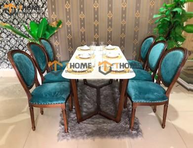 Bộ bàn ăn Concord chân xương cá 6 ghế louis 1.6m; 1.8m; 2.0m BBA-70SN