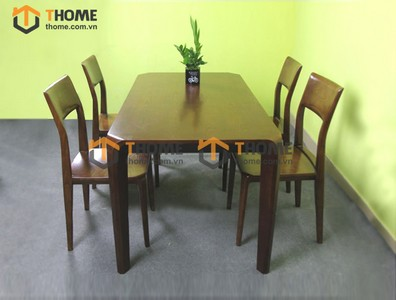 Bộ bàn ăn chân hươu 4 ghế 1 lá 1.2m; 1.4m BBA-74SN