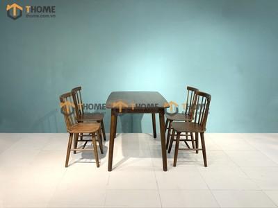 Bộ bàn ăn Mango 4 ghế 7 nan 1.2m gỗ cao su BBA-77CS