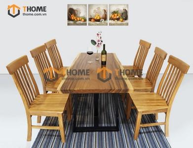 Bộ bàn ăn Me Tây 6 ghế 7 nan đứng 1.4m; 1.6m; 1.8m; 2.0m BBA-79SN