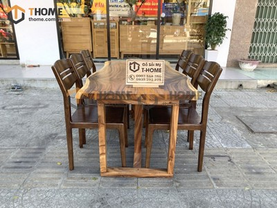 Bộ bàn ăn Me Tây 6 ghế 3 lá 1.4m; 1.6m; 1.8m; 2.0m BBA-81SN