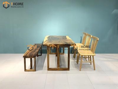 Bộ bàn ăn Me Tây 3 ghế 7 nan, 1 ghế bench 1.4m; 1.6m; 1.8m; 2.0m BBA-82SN