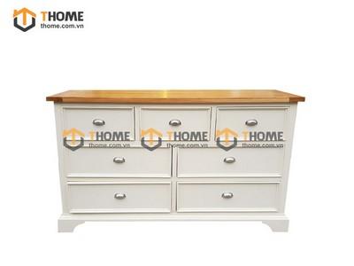 Tủ 7 ngăn kéo hampshire màu trắng nóc sồi 1.5m TNK-21SM