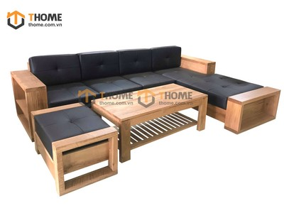 Bộ sofa góc UMA gỗ sồi 4 món nệm nỉ SF-12SM