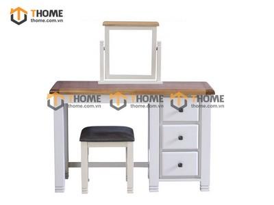 Bộ bàn trang điểm Woodstock (bàn+gương+đôn) màu trắng 1.15m BTD-14SM