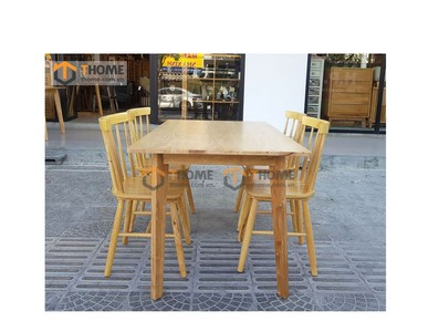 Bộ bàn ăn Obama gỗ sồi, 4 ghế 7 nan cao su 1.2m; 1.4m BBA-29SN