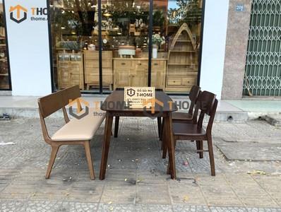 Bộ bàn ăn Obama 2 ghế tai voi, 1 ghế bench 1.2m; 1.4m BBA-33SN