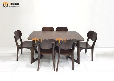 Bộ bàn ăn Grace chân M 6 ghế tai voi 1.6m; 1.8m; 2.0m BBA-55SN