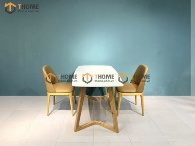 Bộ bàn ăn Grace chân M 2 ghế neva 1.2m; 1.4m BBA-56SN