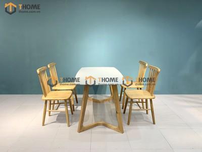 Bộ bàn ăn Grace chân M 4 ghế 7 nan 1.2m; 1.4m BBA-57SN