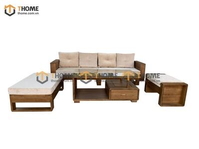 Bộ sofa góc Armani 4 món (nệm nỉ) màu óc chó 2.3m SF-14SM
