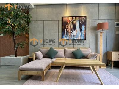 Bộ sofa góc Jun màu tự nhiên 2.4m x 1.6m SF-32SN