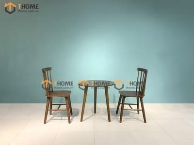 Bàn ghế cafe 7 nan gỗ cao su BGCF-18CS
